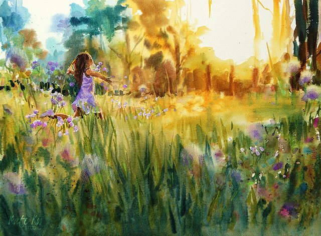 'Lost in Lilac' watercolour and coloured pencils Have a nice evening folks!☀️ #watercolor #watercolours #meadow #girl #running #sunlit #woodland #purpleflowers #painting #landscape #flashesofdelight  #thatsdarling #livecolorfully #myunicornlife #lovemyjob