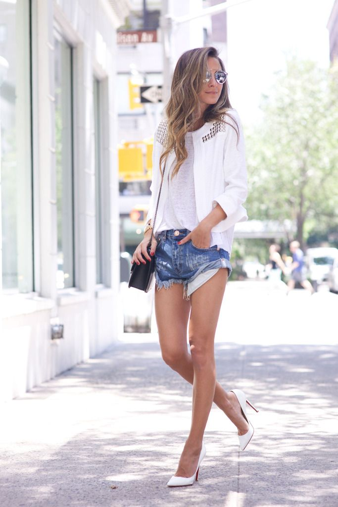 Denim x Clean White - Arielle wearing One Teaspoon Shorts, Christian Louboutin Shoes, Generation Love Jacket, Generation Love Tank and Valentino Bag.