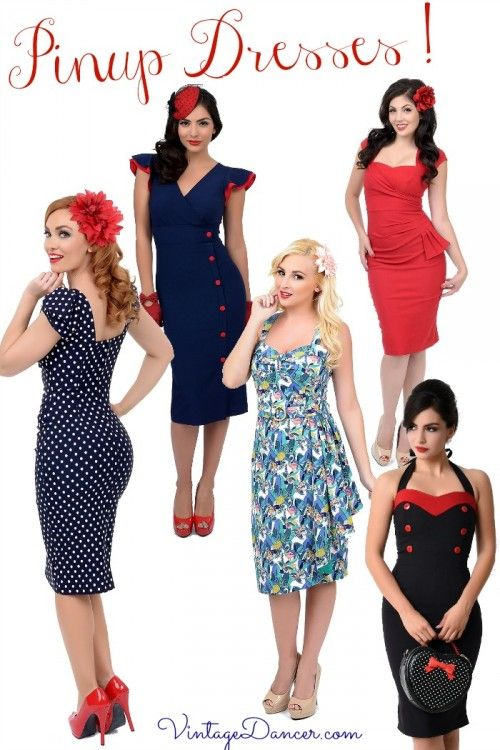 Vintage style pinup dresses! Find these at VintageDancer.com and Unique-Vintage.com