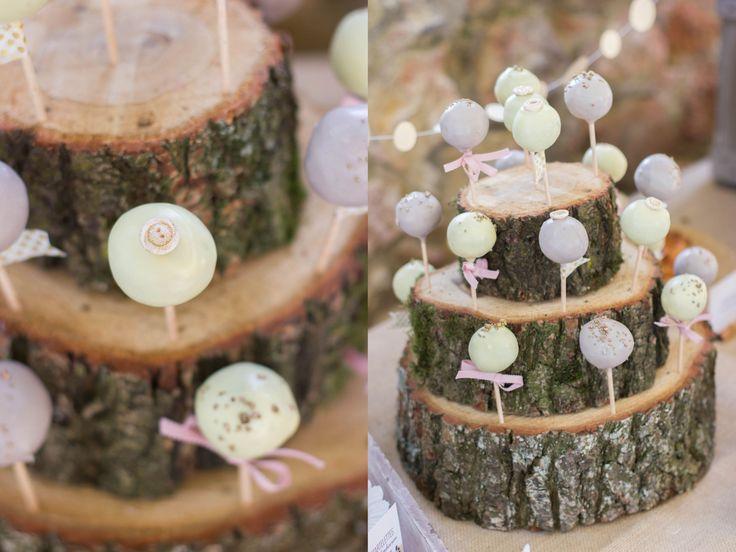 Cake-Pop-Ständer aus Baumstammscheiben - von http://www.backlinse.de