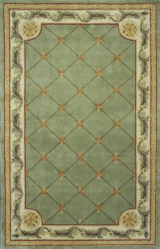Traditional Jewel Sage Fleur De Lis Hand Tufted Area Rug
