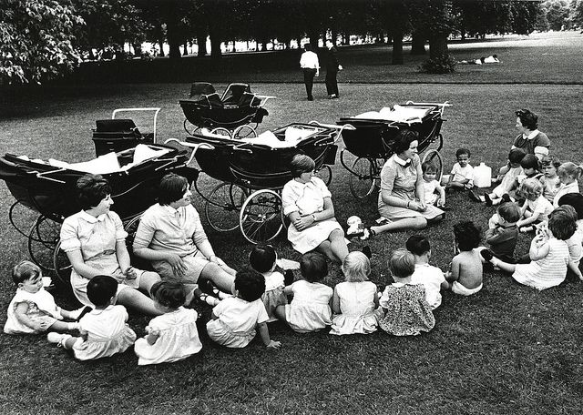 Nannies and their charges, Hyde Park, 1968.