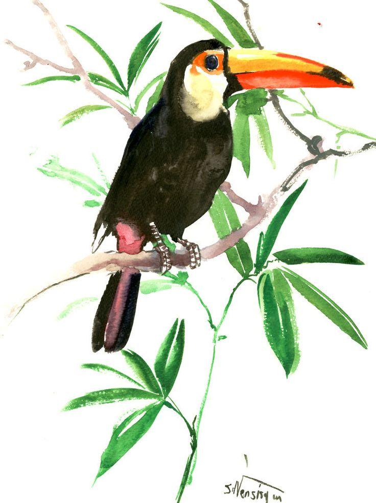 Toucan, Tropical Artwork, Bird, NUrsery art, children room, tropical birds, jungle painting, 12 X 9 in, tropical birds, bird lover art by ORIGINALONLY on Etsy