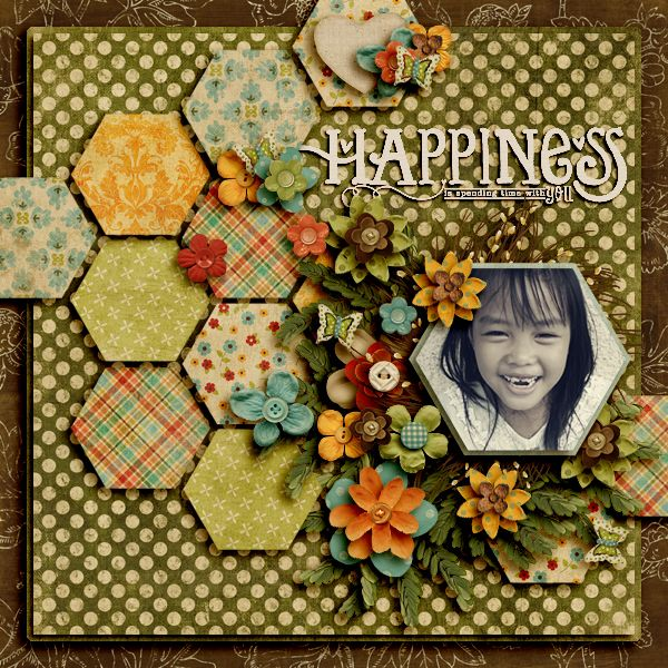 Happiness5 Scrapbook Page made with Scrappy Princess digital scrapbook kit. Love the colors in this page