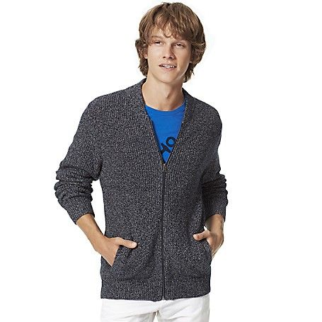 Tommy Hilfiger men's sweater. A fresh jacket alternative for those in-between days-our zippered cardigan in a marled cotton knit finished with a leather bound zipper.  <br>• Custom fit.<br>• 100% cotton. <br>• Zip closure, ribbed trim. <br>• Machine washable. <br>• Imported.<br>