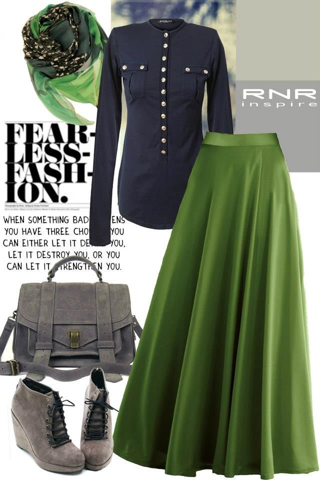 green maxi skirt hijab