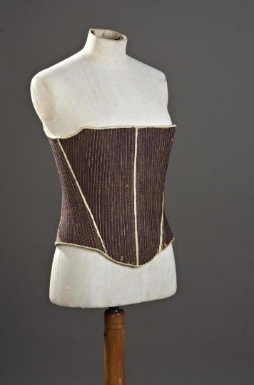 Louis XV era Stays; cream stitching, wool twill