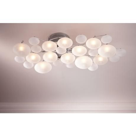 Possini Euro Lilypad Etched 30 Wide Ceiling Light Fixture Low Ceiling