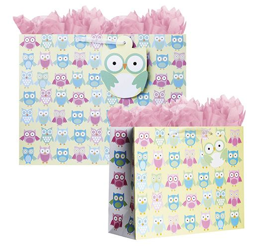 Owlets Tote Bags, great for baby showers!  #Owl #Animal #Giftbag