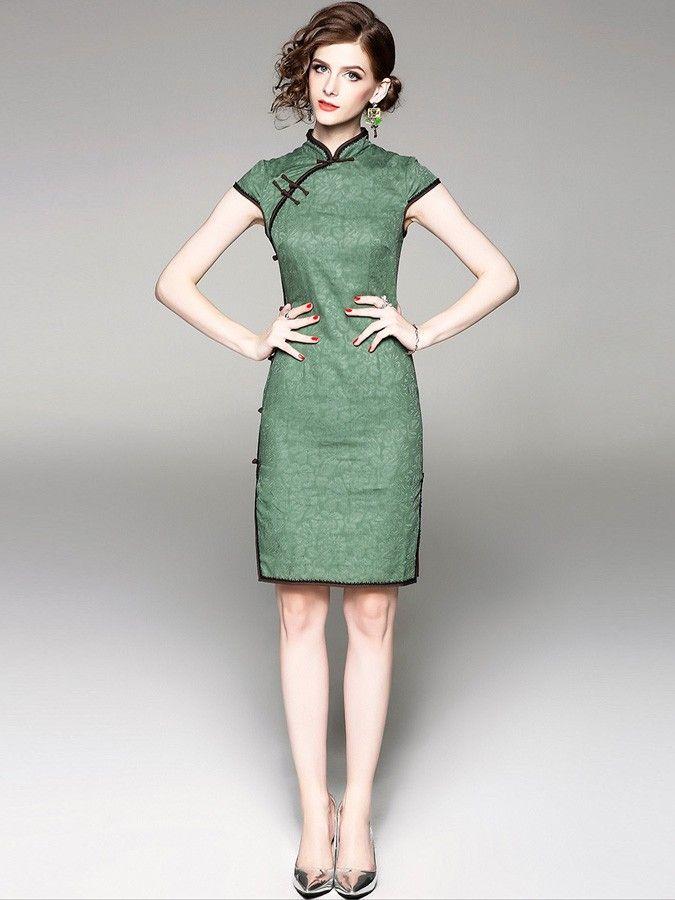 99dc6f39f4 Green Floral Linen Qipao   Cheongsam Dress