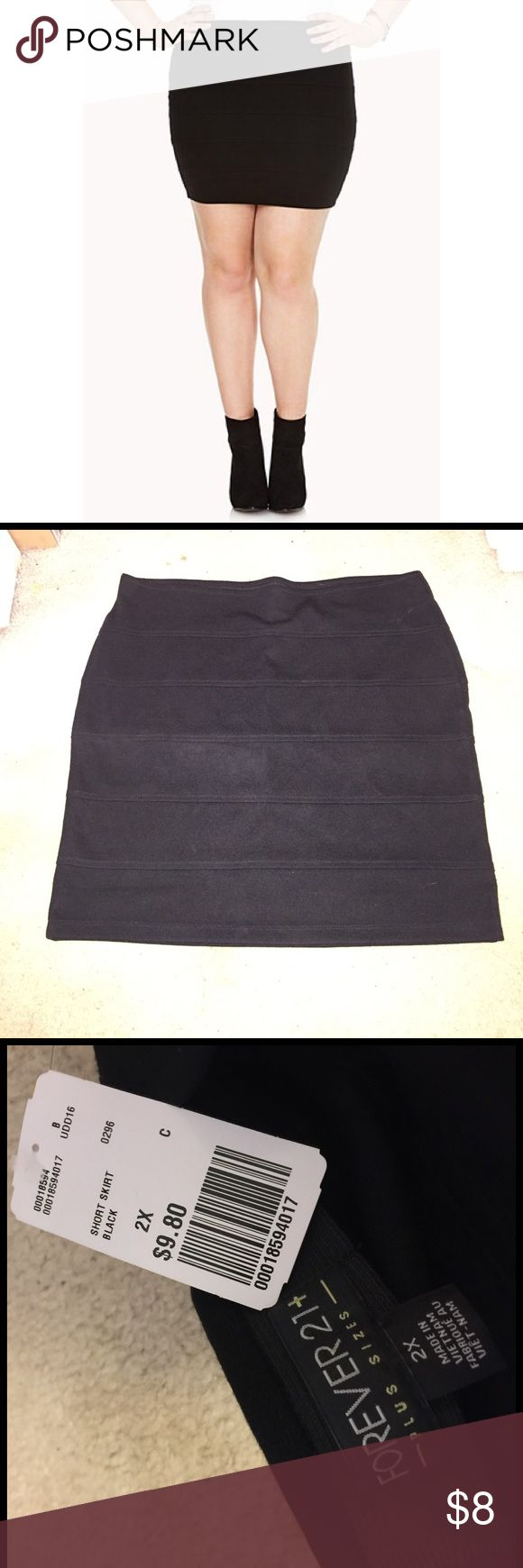 Forever 21 Plus skirt Forever 21 plus size black bandage skirt. In size 2x, selling because I already have a similar skirt. BRAND NEW NEVER WORN. Forever 21 Skirts Mini
