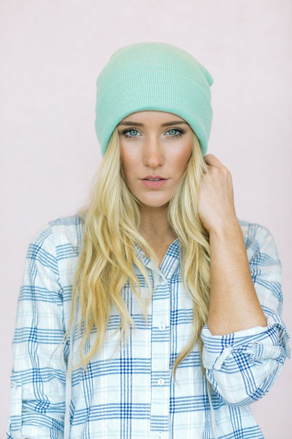 Knitted Mint Green Beanie Hat  Women's Sailor Cap by ThreeBirdNest, $28.00