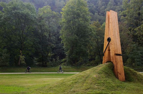 This is exquisite ... Turkish artist Mehmet Ali Uysal's giant wooden clip installation appeared in the Chaudfontaine park in Belgium, as part of a contemporary art exhibition.