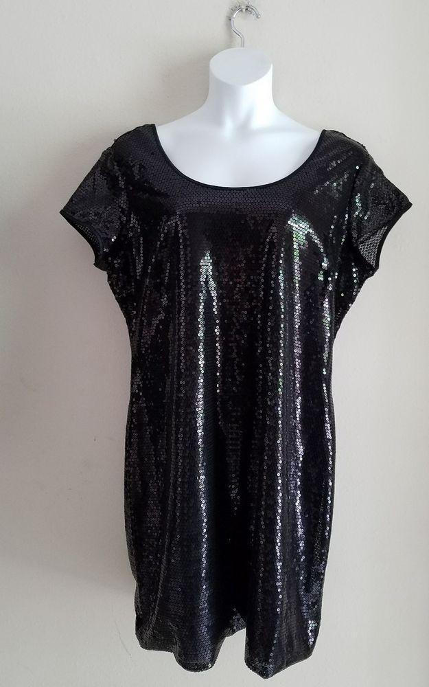 Women's size 1X Black Sequin Short Sleeve Shift Dress - Stitch 2 #Stitch2 #TunicShift #LittleBlackDress