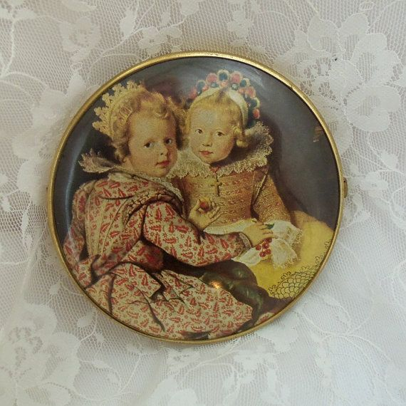 Vintage Compact mirror, 1930's, Victorian Artwork on both sides, Made in W. Germany, Double sided, Excellent Condition