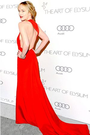 """Fifty Shades Darker"" Star, Dakota Johnson wears Romona Keveza at The Art of Elysium's Heaven gala in Los Angeles"