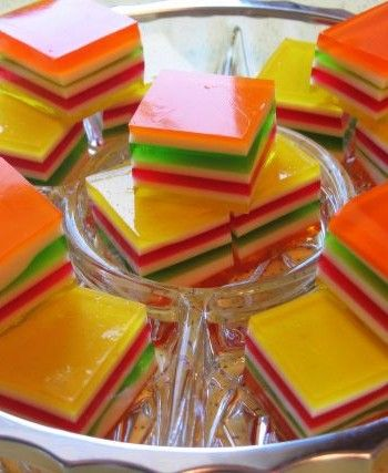 Layered Finger Jello~ for kids party...