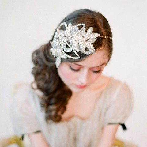Bridal headband rhinestone and crystal bridal hair  by myrakim, $415.00