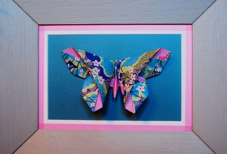 Cadre déco Origami Papillon Fleuri : Décorations murales par petitspapierscelestes