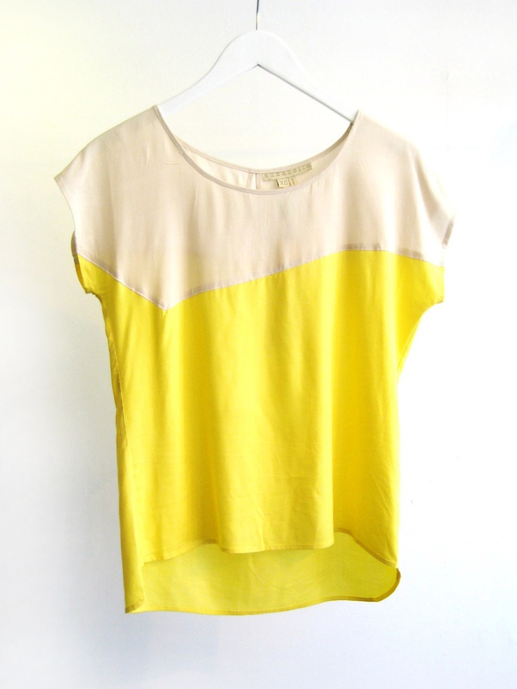 cute.: Nice Dresses, Birthday, Cream Yellow Leannolog, Velo Shirts, Style, So Cute, Colorblock Tops, Jagged Bord Colors, Colors Blocks