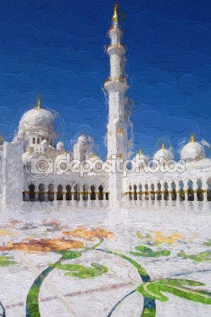 Mosquée Sheikh Zayed à Abu Dhabi, Émirats Arabes Unis, Moyen Orient, de style Art — Image #79798236