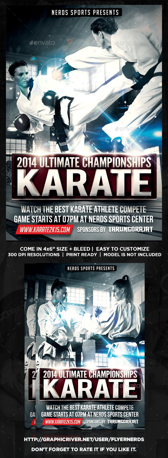 Karate Fighting Championships Sports Flyer