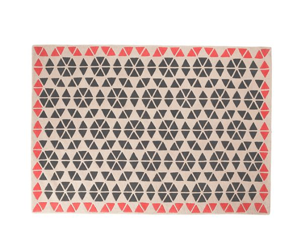 Trio Large Wool Rug 160 x 230cm, Charcoal & Coral