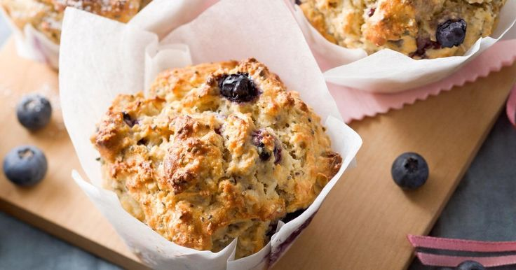 These healthy blueberry muffins are the perfect food for lunch-boxes or mid-afternoon snacks.