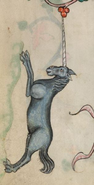 Fabulous Unicorn from The Luttrell Psalter - folio 15r.  Manuscript made in Lincolnshire, England, between 1320-1340 for Sir Geoffrey Luttrell. British Library, Add. MS 42130; Images from the British Library manuscript pages. http://www.bl.uk/manuscripts/FullDisplay.aspx?ref=Add_MS_42130