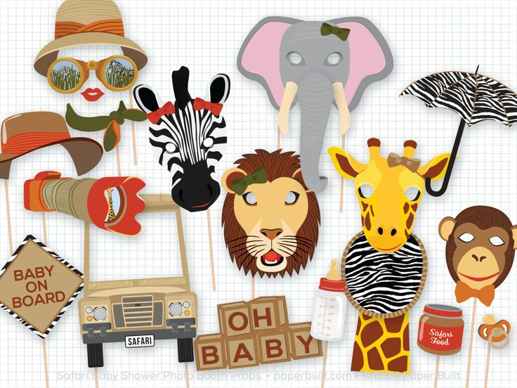 Safari Baby Shower Photo Booth Props, Baby Shower, Safari Party, Foto Booth, Photobooth Props, Adventure, Explorer, Africa, Animal Mask by PaperBuiltShop on Etsy https://www.etsy.com/listing/213467751/safari-baby-shower-photo-booth-props