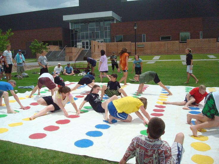 Giant Twister on fabric, can be done outdoors or indoors