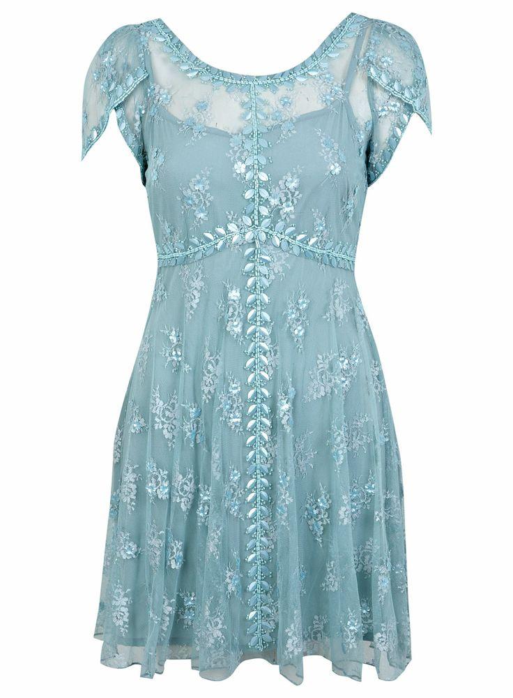 Petites Blue Beaded Tea Dress - View All - Petites - Miss Selfridge
