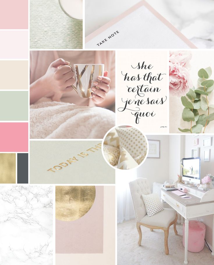 Mood board, feminine inspiration board for my own branding for Wonderland Graphic Design. Pretty soft romantic color palette of light pink, cream, green and gold. Beautiful script font, sans serif, inspiring my logo, submark, brand design elements, patterns textures, social media branding and print materials.