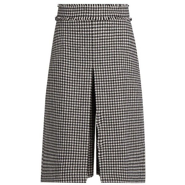 J.W.Anderson Hound's-tooth wool-blend pleated culottes ($593) ❤ liked on Polyvore featuring pants, capris, black white, black and white pants, j.w. anderson, pleated trousers, pleated pants and wide-leg pants