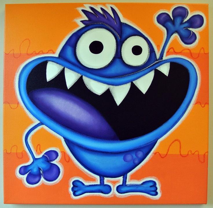 mONSTER sAYS Hi - 12x12 original painting on canvas, for nursery or kids room, monster art, cute monsters. $50.00, via Etsy.