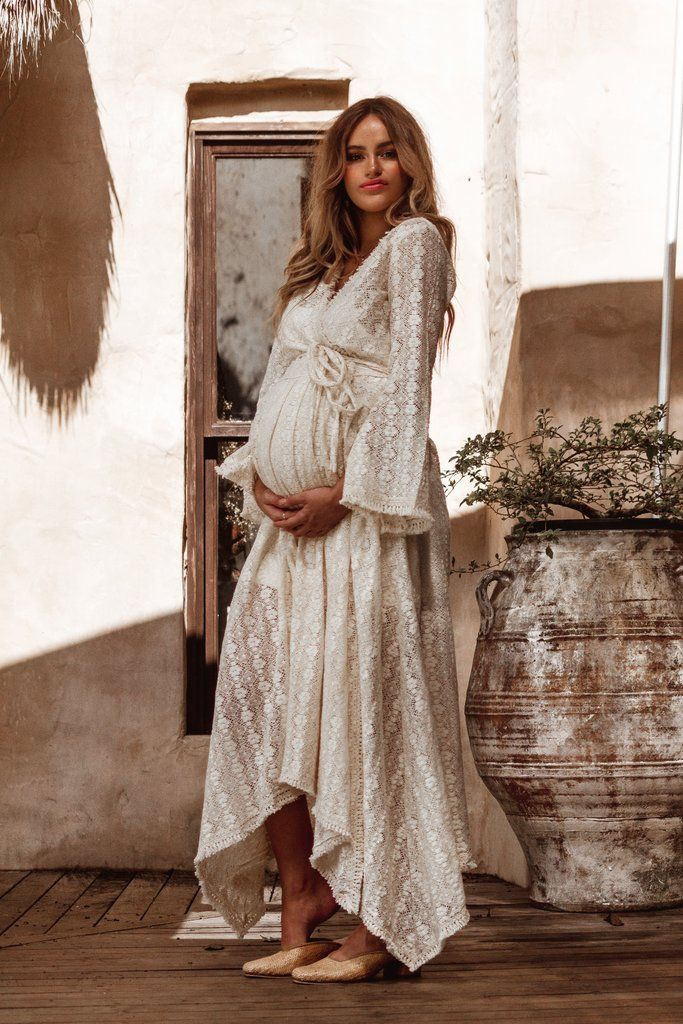 8d80c77b13a Boho baby shower crochet dress bohemian lace maternity pregnancy pregnant  outfit photoshoot wrap kimono fringe
