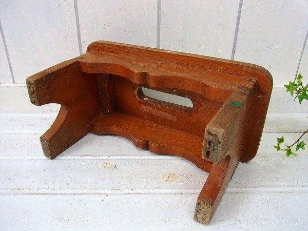 Usa アンティーク ちいさな木製 スツール 踏み台 子供イス 椅子