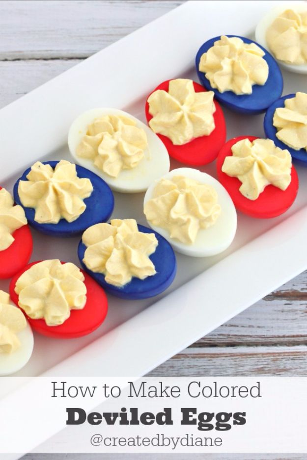 Best Fourth of July Food and Drink Ideas - Red White And Blue Deviled Eggs - BBQ on the 4th with these Desserts, Recipes and Ideas for Healthy Appetizers, Party Trays, Easy Meals for a Crowd and Fun Drink Ideas http://diyjoy.com/diy-fourth-of-july-party-ideas