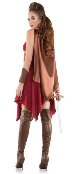 Adult size Hooded Huntress Costume - Warrior - 5 sizes  This Medieval Huntress Costume includes a dress with draped handkerchief hem, hooded cape with snap at neck and two arm pieces of different sizes.  Includes: Dress, Cape with hood and two Arm Pieces