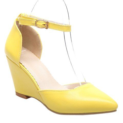 Ladylike Women's Wedge Shoes With Pointed Toe and Solid Colour Design #shoes, #jewelry, #women, #men, #hats, #watches, #belts
