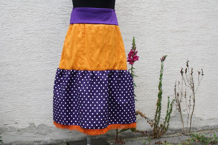 Stufenröcke - Rock Satin orange lila Fransen cosplay Punkte - ein Designerstück von trixies-zauberhafte-Welten bei DaWanda