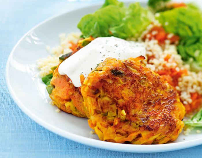 Saftige vegetarbøffer lavet på gulerødder, og en lækker grønsagspuré til