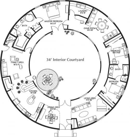 Plan: Catalog of Monolithic Dome House Plans. Good grief, the geometric detail of this is impressive.