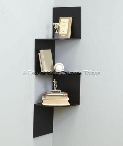 Black Wooden Zig Zag Corner Shelf Wall Decor Space Saver