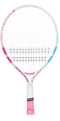 """NEW Babolate B-Fly Junior 19"""" Tennis Racquet.  This 19"""" racquet is ideal for young players up to 4 years of age. The Butterfly design with pink and blue. Good for the small junior just starting out.  $35.00"""