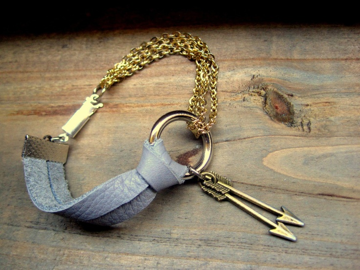 Two Sided Leather and Chain and Charm Arrow Strap Bracelet Handmade Leather Jewelry Boho. $25.00, via Etsy.