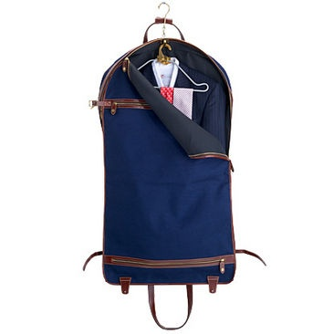 Suit Carrier in Navy Canvas and Smooth Cognac - Luxury Leather Wallets, Leather Handbags, Cufflinks - British Luxury Leather Goods from Aspinal of London