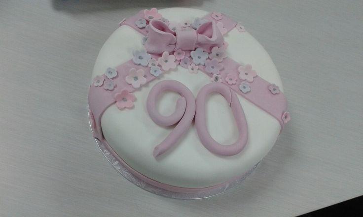 Jo's mum's 90th birthday cake.  Fruit cake covered by fondant
