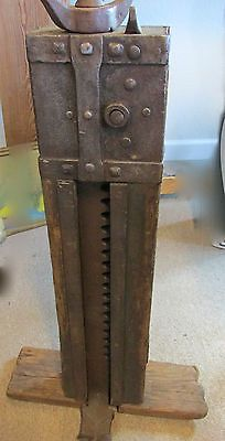 Antique-Primitive-Solid-Wood-Iron-Stage-Wagon-Jack-Lift ...