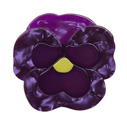 Playful Pansy (Erstwilder Purple Resin Brooch), now available. Hand assembled and hand painted, presented in a branded box.